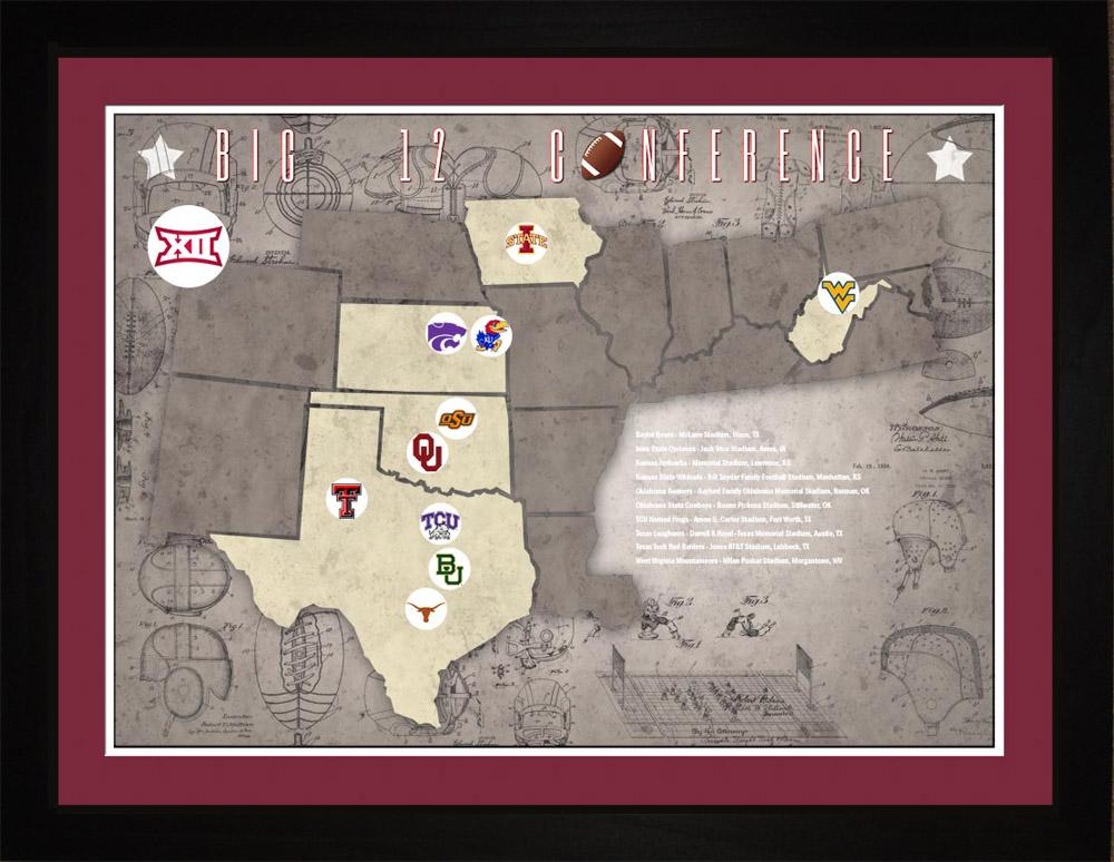 Big12 College Football Teams Stadiums Tracking Location