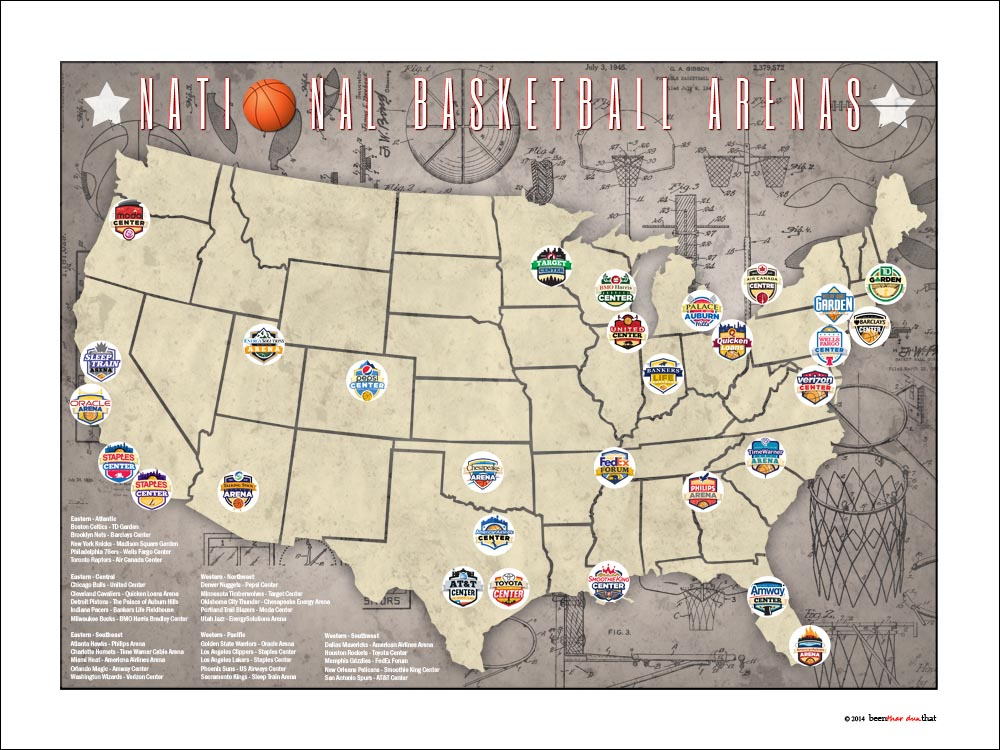 Tracking Art NBA National Basketball Arena Stadium Team Location - Nba teams map
