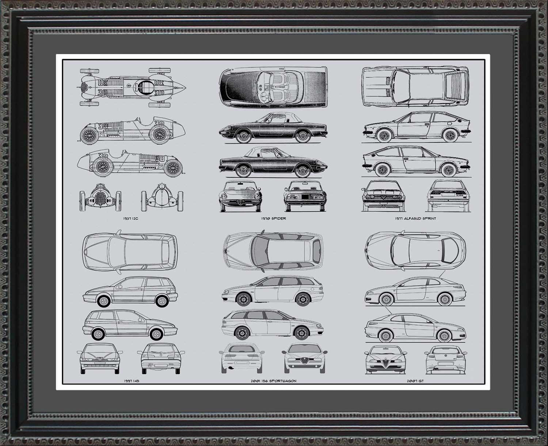 Alfa romeo automobile blueprint art wall hanging auto car gift alfa romeo blueprint collection 20x24 malvernweather Choice Image
