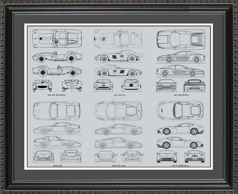 Ferrari automobile blueprint art wall hanging auto car gift ferrari automobile blueprint art wall hanging auto car gift malvernweather Gallery