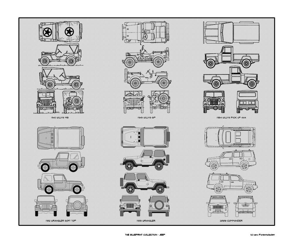 Blueprint Jeep Auto Collection Car Artwork Gift | Www.123paintcolor ...