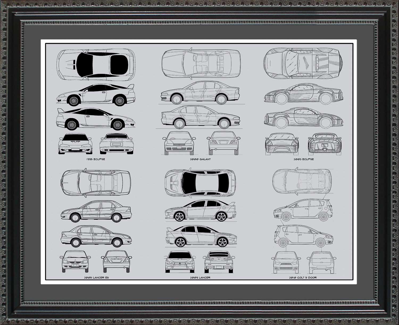 Mitsubishi automobile blueprint art wall hanging auto car gift mitsubishi blueprint collection 20x24 malvernweather Choice Image