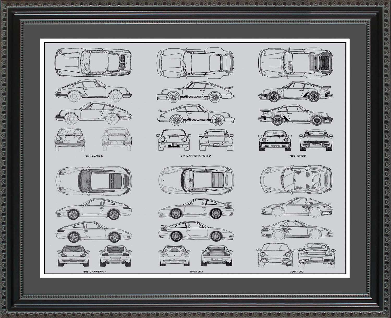 Porsche 911 Automobile Blueprint Art Wall Hanging Auto