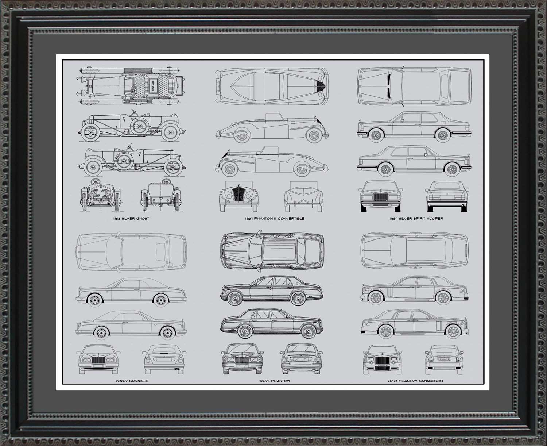 Rolls royce automobile blueprint art wall hanging auto car gift rolls royce automobile blueprint art wall hanging auto car gift malvernweather Gallery
