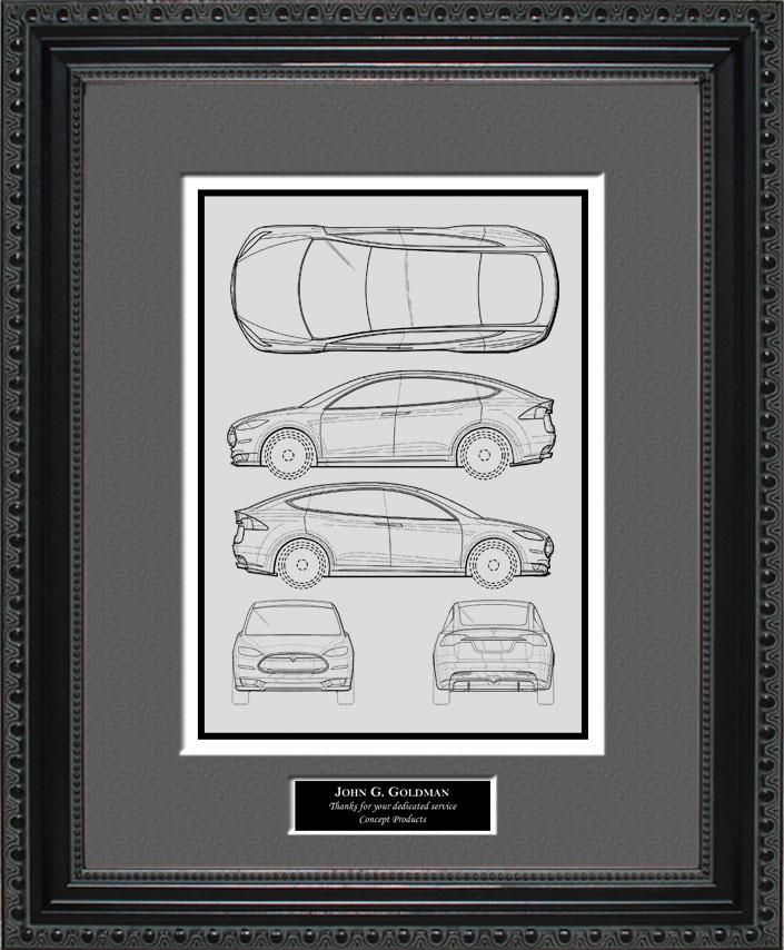 Blueprint Art Tesla Auto Collection Tesla Automobile