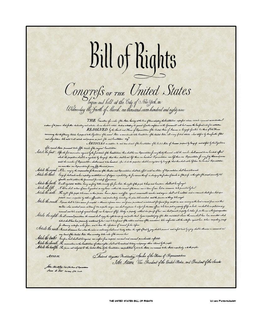 Historic Wall Art Bill Of Rights Print Or Framed