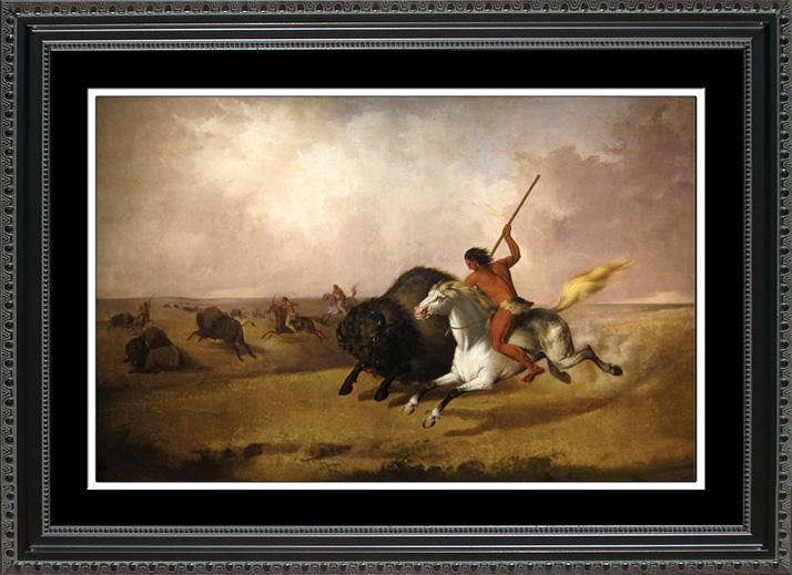 Buffalo Hunt On Southwestern Prairie Historic Office Art