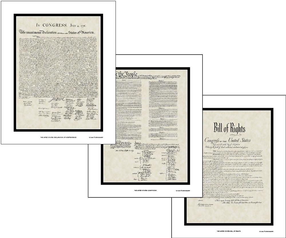 wall art declaration of independence bill rights constitution print framed 16x20 ebay. Black Bedroom Furniture Sets. Home Design Ideas