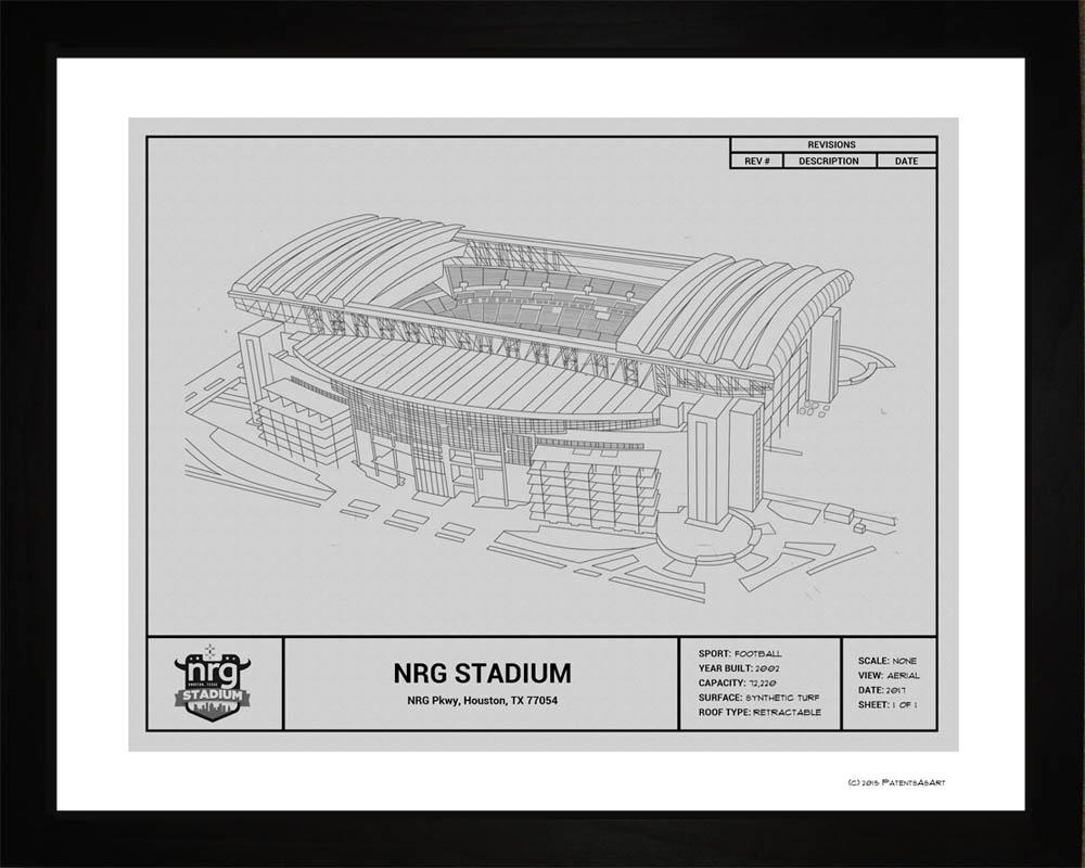 houston texans nrg stadium blueprint art gift wall art. Black Bedroom Furniture Sets. Home Design Ideas