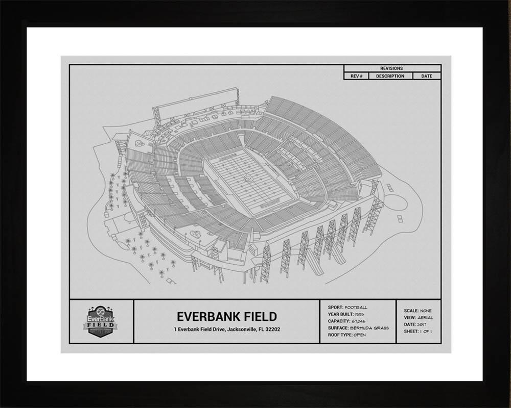 Jacksonville jaguars everbank field stadium blueprint art gift wall art jacksonville jaguars everbank field stadium framed print gift malvernweather Gallery