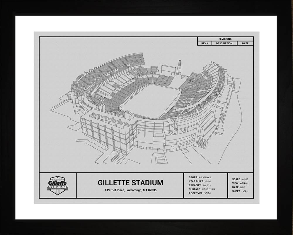 New England Patriots Gillette Stadium Blueprint Art Gift