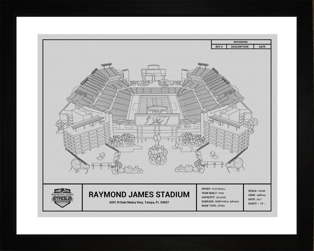 Raymond james stadium blueprint tampa bay buccaneers 16x20 tampa bay buccaneers raymond james stadium framed print gift malvernweather Image collections