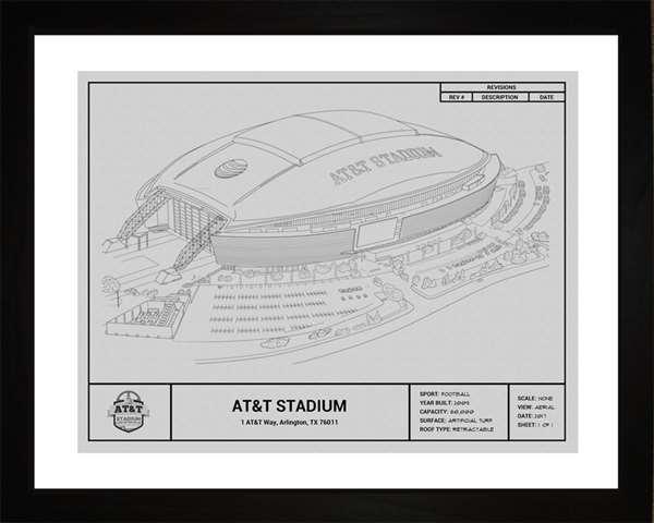 Dallas Cowboys AT&T  Stadium Framed Print Gift