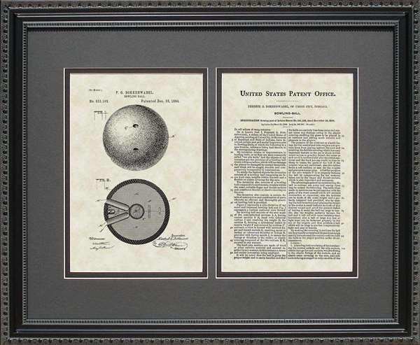 Bowling Ball Patent Art Wall Hanging Bowler Gift
