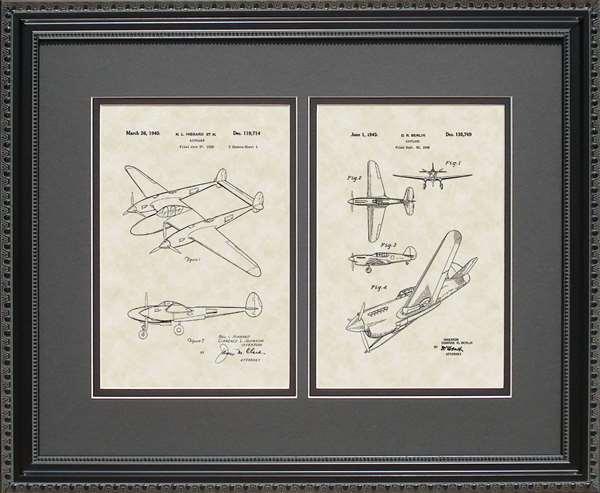 P-38 P-41 Aircraft Patent Art Wall Hanging Pilot Aviator Gift