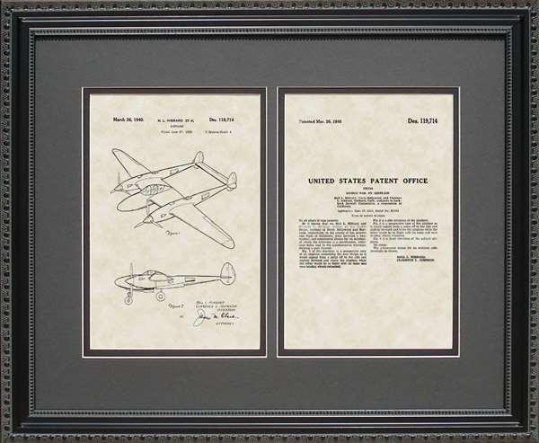 P-38 Aircraft Patent Art Wall Hanging Pilot Aviator Gift