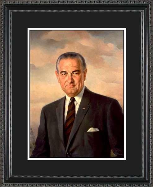 Lyndon B. Johnson Portrait Historic Office Art