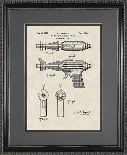 Sonic Ray Gun Patent Art Wall Hanging Gift