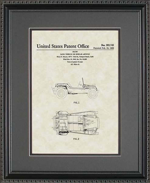 Dune Buggy Automobile Patent Art Wall Hanging Auto Mechanic Gift