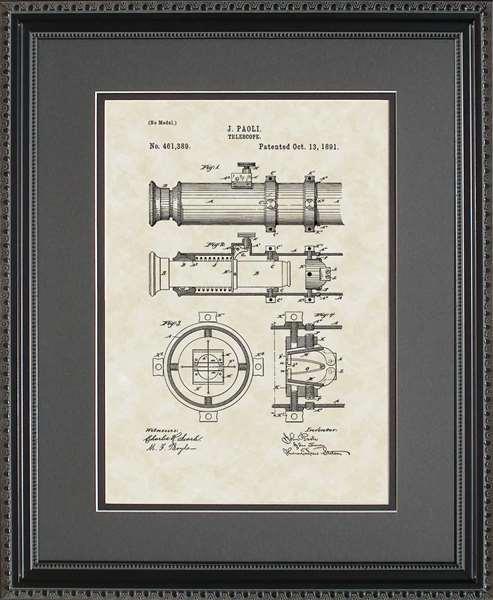 Telescope Patent Art Wall Hanging Space Star Gazer Gift