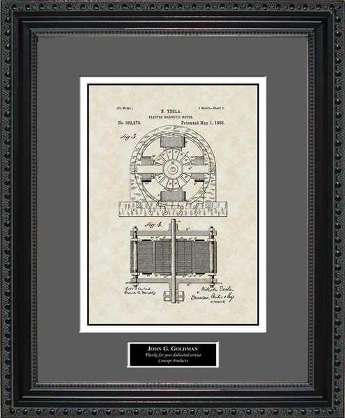 Tesla Motor Patent Art Wall Hanging Tesla Inventor Gift