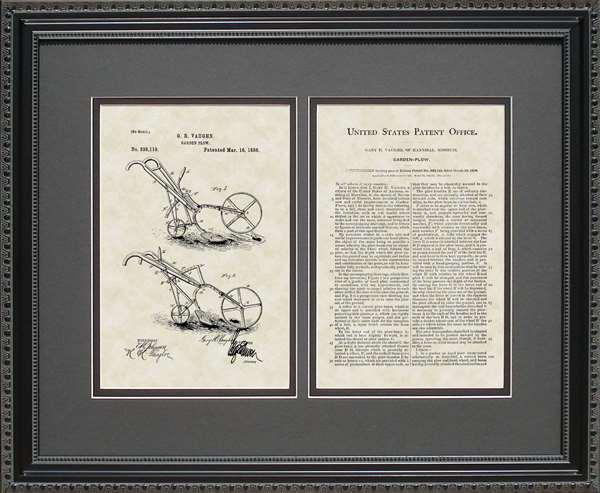 Garden Plow Patent Art Wall Hanging Gardener Gift