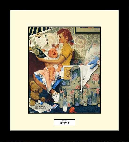 Norman Rockwell BABYSITTER Framed Art Gift