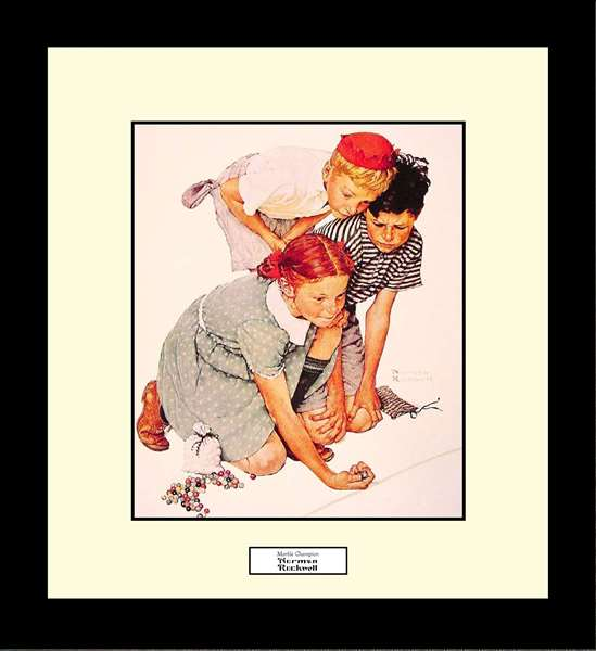 Norman Rockwell MARBLE CHAMPION Framed Art Gift