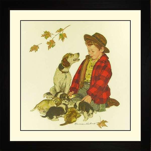 Norman Rockwell PUPPY - LOVE'S LITTLE TREASURES Framed Art Gift
