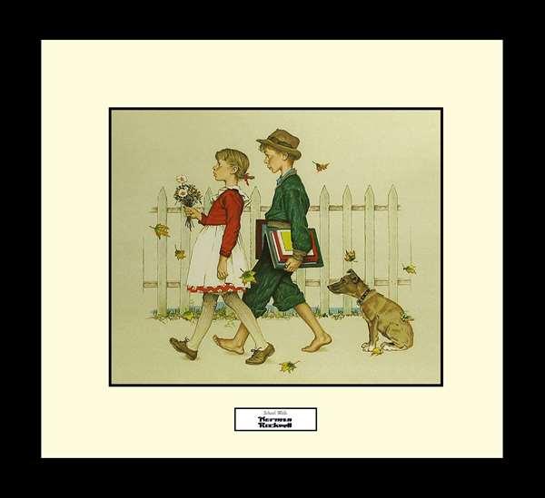 Norman Rockwell SCHOOL WALK Framed Art Gift