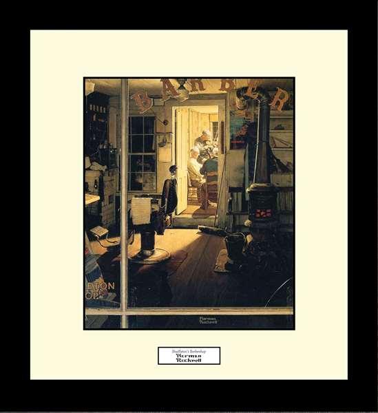Norman Rockwell SHUFFLETON'S BARBERSHOP Framed Art Gift