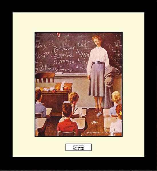 Norman Rockwell TEACHER'S BIRTHDAY Framed Art Gift